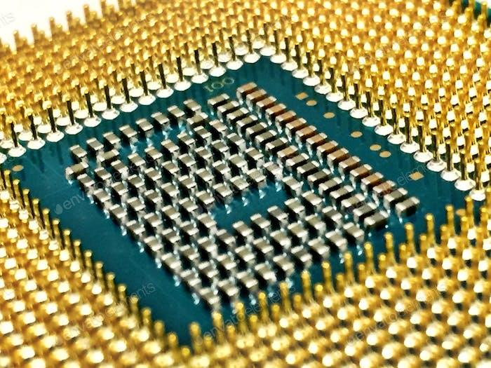 Bottom of a computer CPU