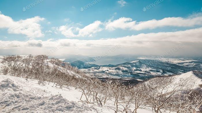 Riding ski resort in Japan