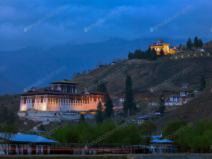 Paro Dzong in the town of Paro in the Kingdom of Bhutan