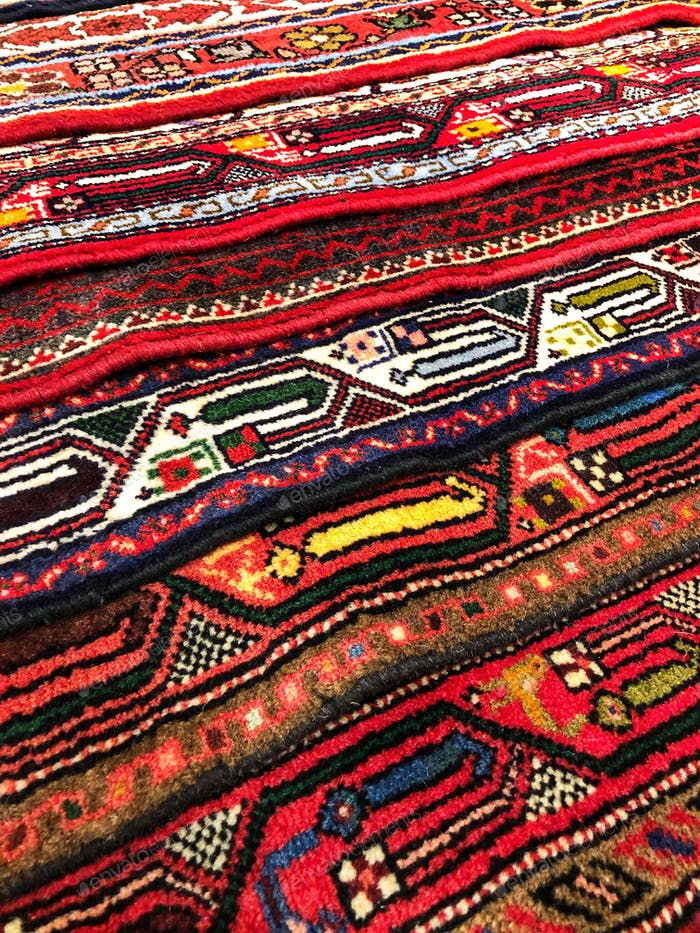 Layers of Persian rugs