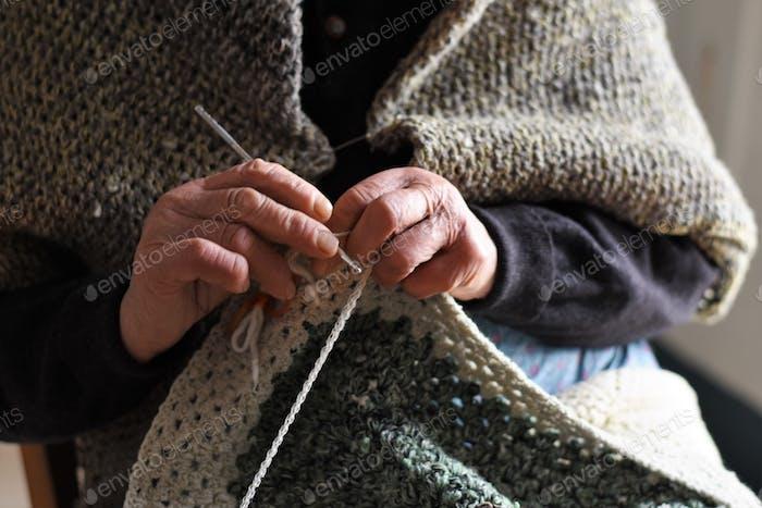 Lady crocheting