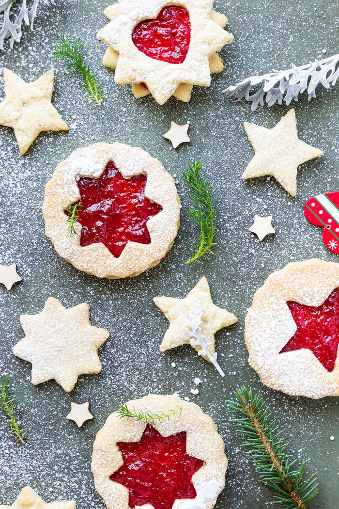 Traditional Linzer Christmas cookies with raspberry jam.