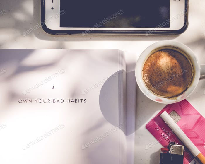 addictions of the modern world - coffee, shopping, credit card, smoking, mobile phone, bad habits
