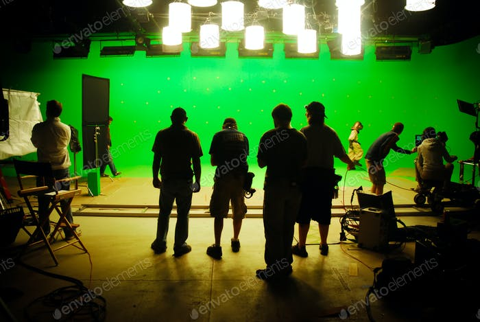 Movie production visual effects green screen
