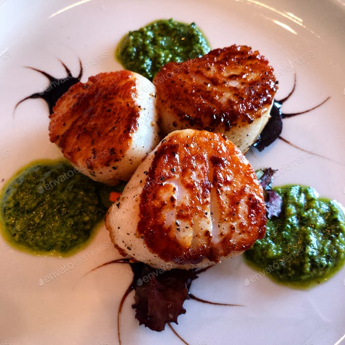 Seared Scallops with Basil Pesto and Balsamic Syrup At Chef Shane's Perspective - Idaho Falls