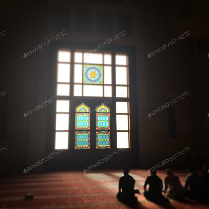 Muslims praying at grand mosque Doha