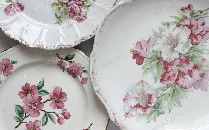 Vintage Plates all in a row