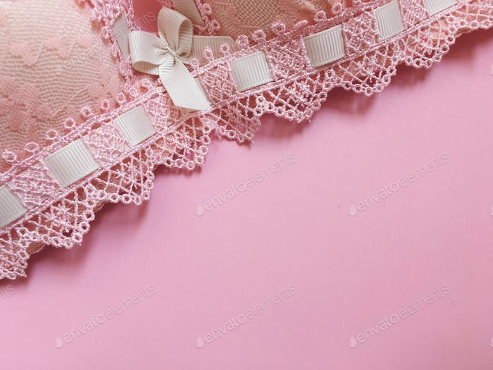Pink bra on a pink background