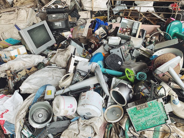 Huge dump of household electrical goods for recycling