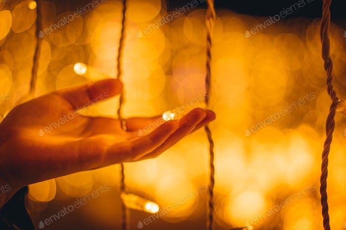 Christmal illumination and lights bokeh