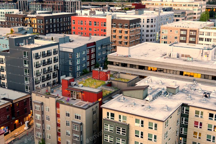 Aerial view of condo and apartment buildings in downtown Seattle