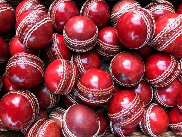 Selection of vintage cricket balls