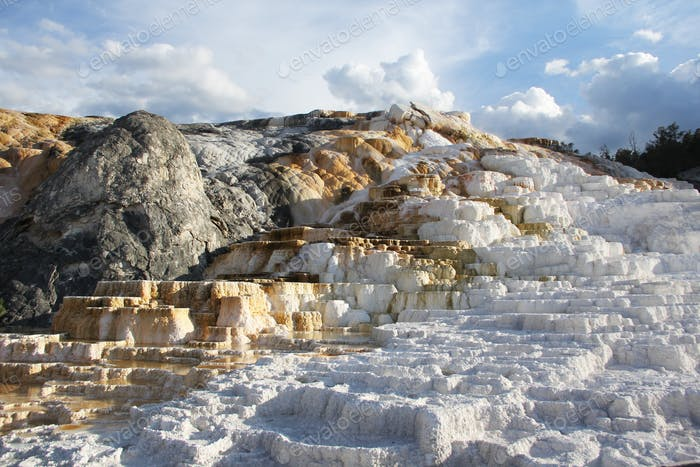 Mammoth Hot Springs. Wyoming. Limestone rock formation source of calcium carbonate of this landmark