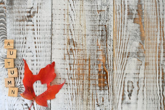 Red maple leaf with a heart cutout, word AUTUMN on whitewashed distressed wooden planks