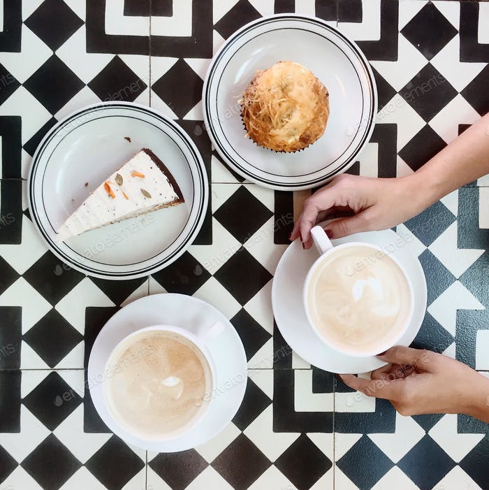Coffee date with cake.