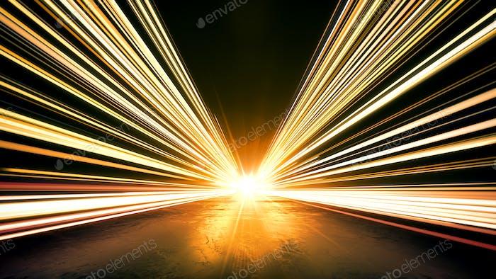 Línea de velocidad de oro ilumina fondo abstracto.