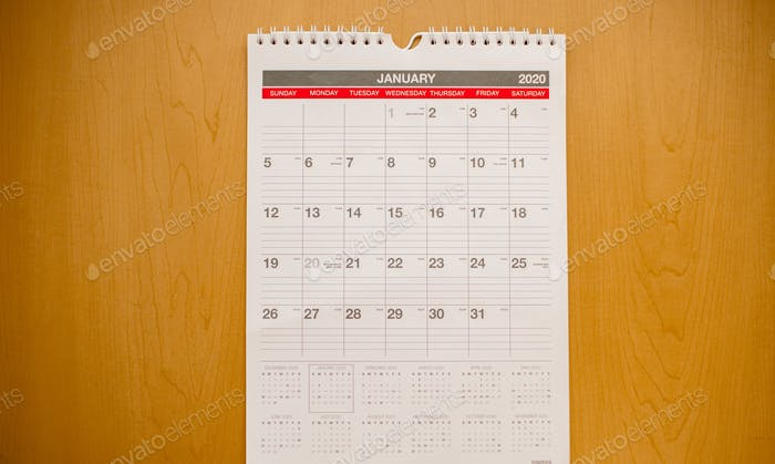 Calendar with the month of January displayed