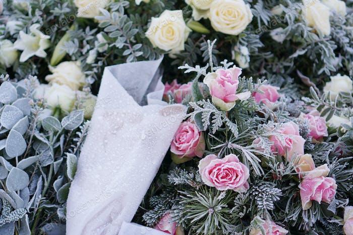 Frozen funeral flowers