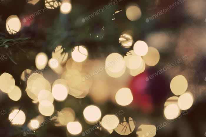 blurry christmas lights on a tree
