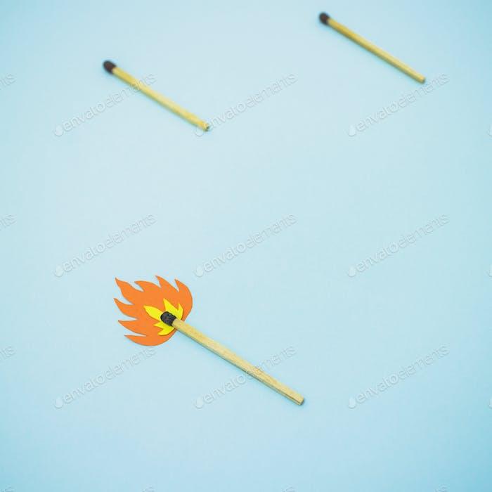Match stick on fire