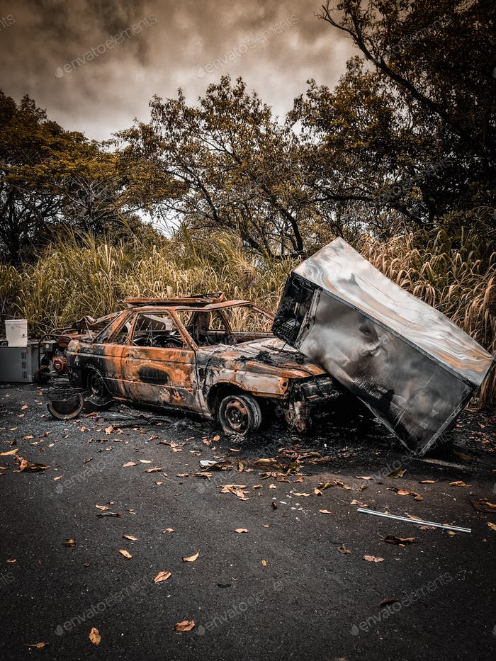 Demolished car in apocalyptic style