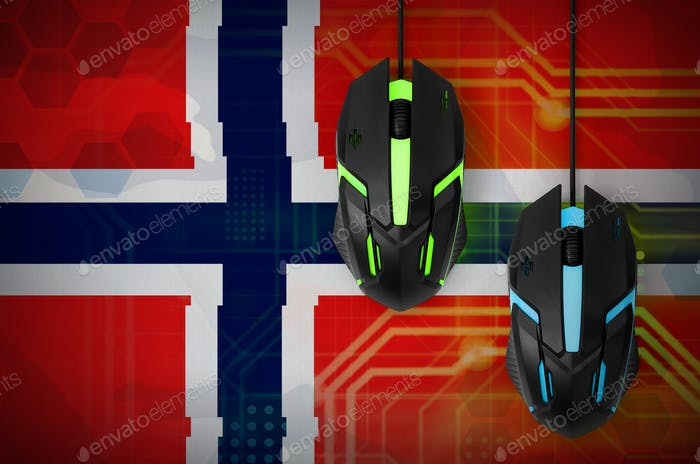 Norway flag  and two modern computer mice with backlight