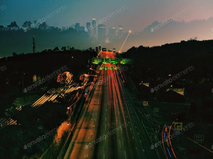 Los Angeles 110 freeway long exposure