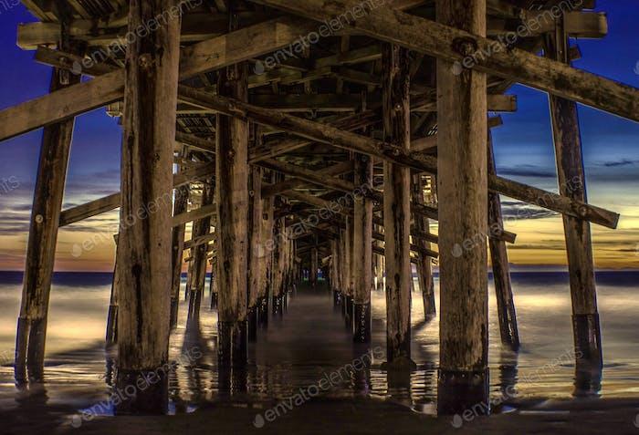 Newport Beach pier at golden hour