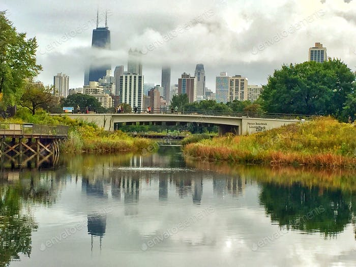 A view of the Chicago skyline across the river.  Honors:  - Top 20% City Views - Top 20% Cityscapes