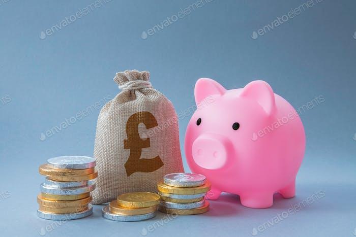 A home finances concept of a family savings account including coins