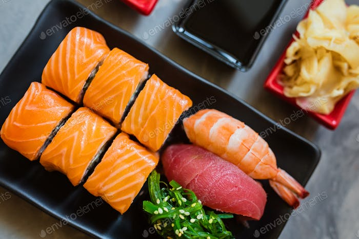 Flat lay for web design with japan food sushi. Online order and Delivery service