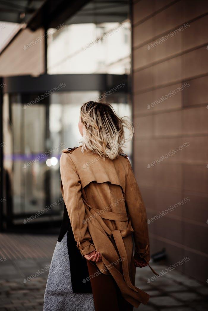 Woman life. Street. City life. Fly . Light.