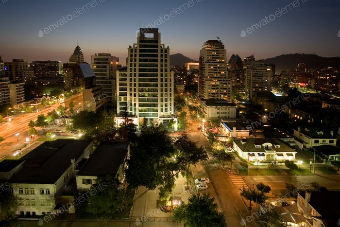 Night view over the city of Santiago in central Chile, South America.