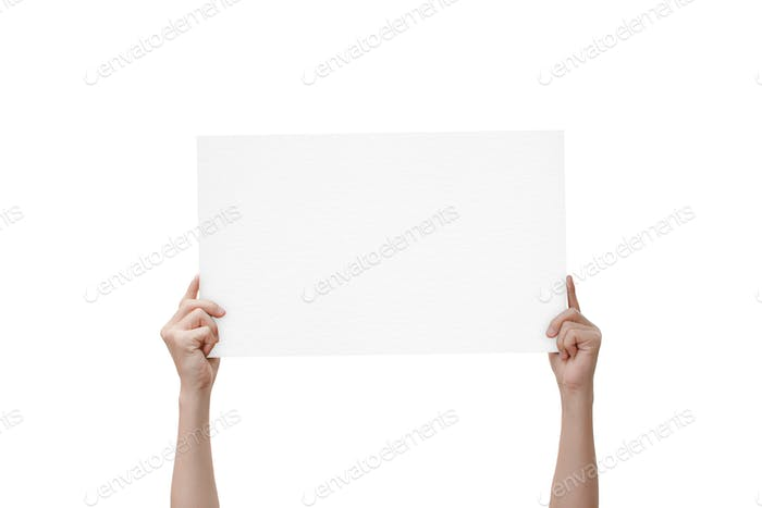 hands holding paper isolated on white background. with clipping path.