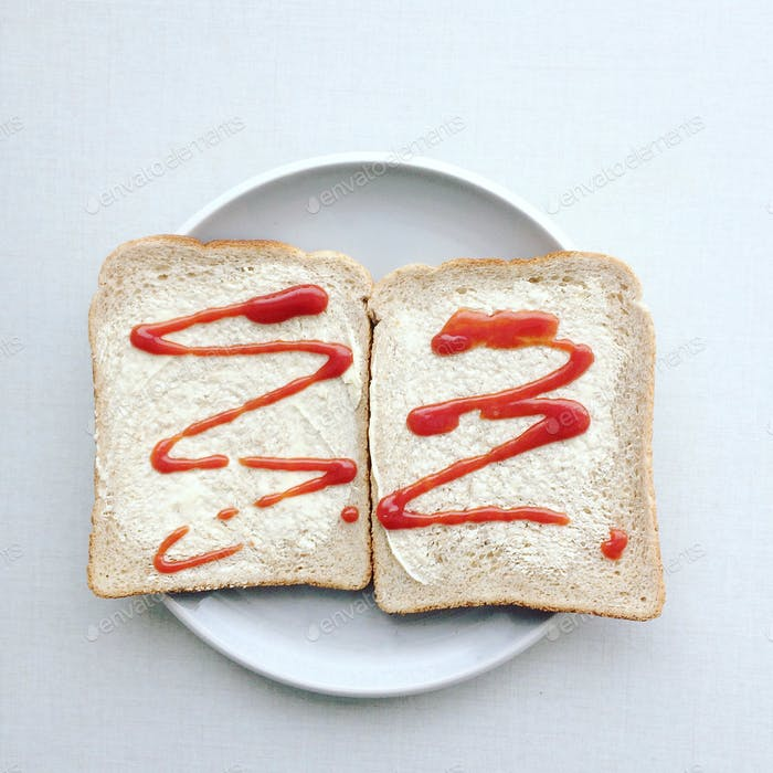 Ketchup on bread