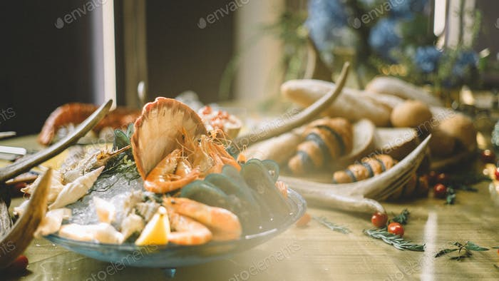 Luxurious seafood on table