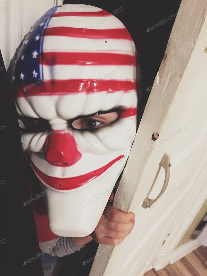 Child dressed up as an clown