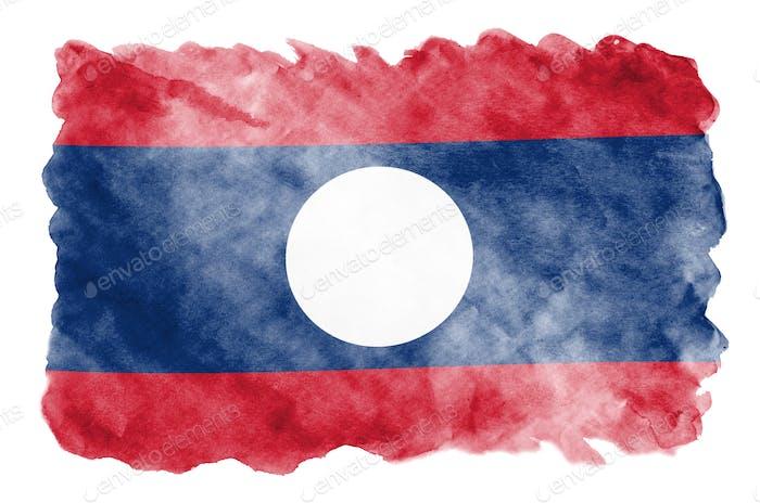Die Laos-Flagge ist im flüssigen Aquarellstil einzeln auf weißem Hintergrund dargestellt