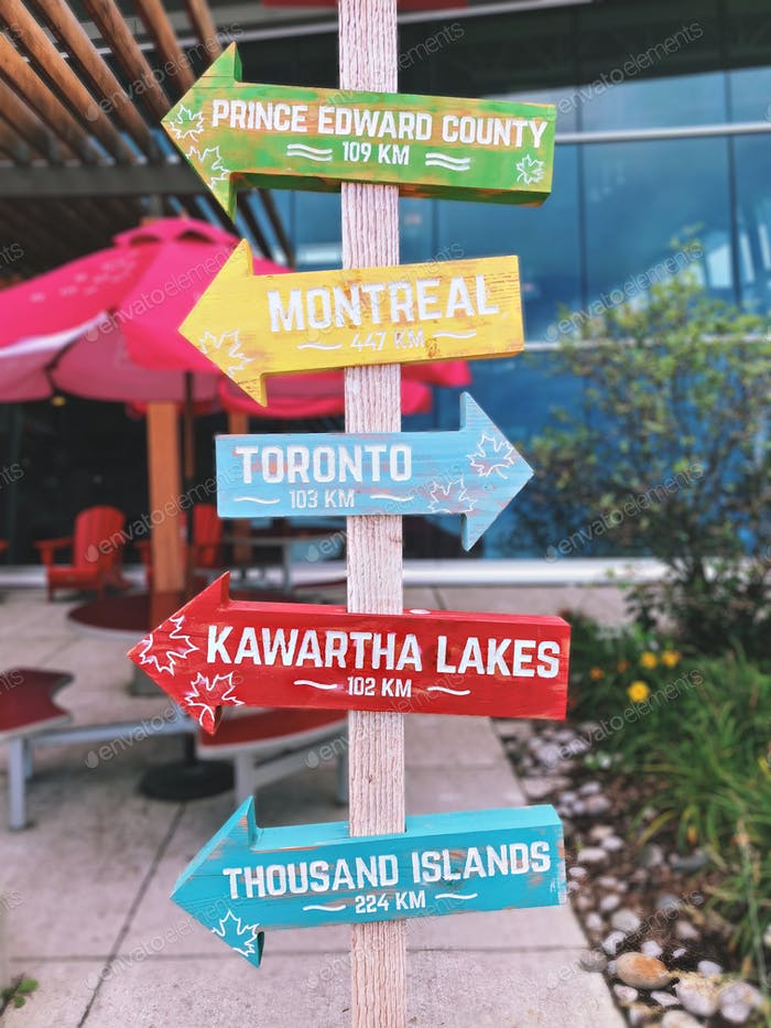 Colorful directional sign in southern Ontario