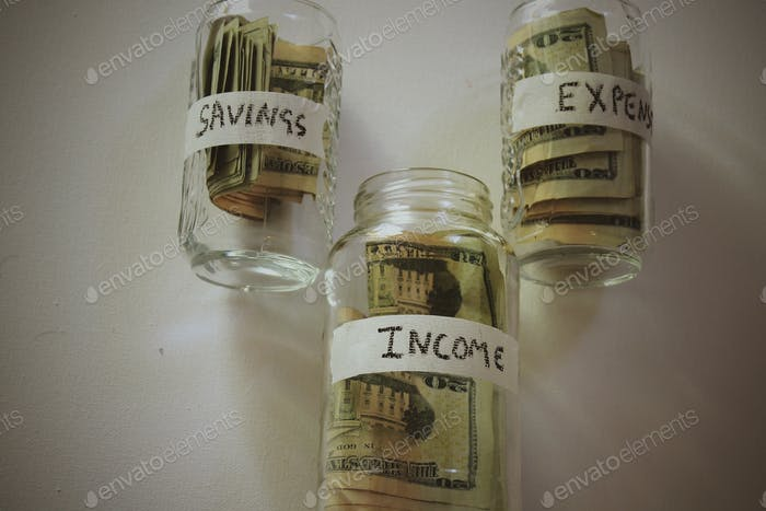 Saving income and expenses