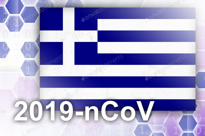Greece flag and futuristic digital abstract composition with 2019-nCoV inscription