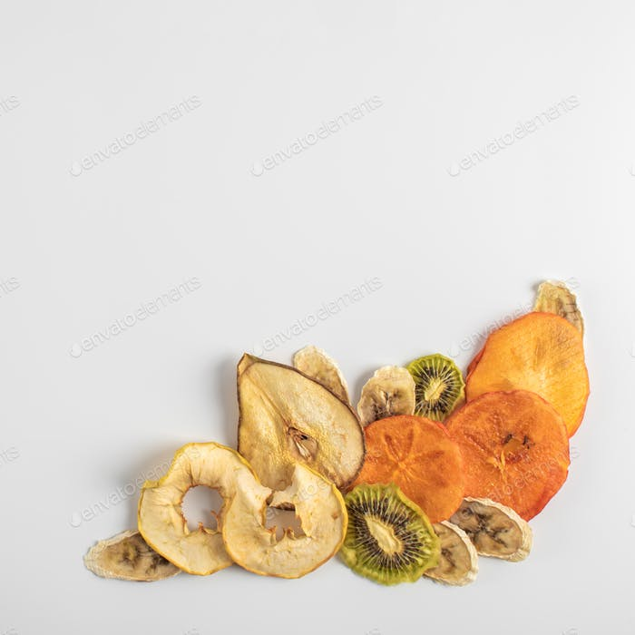 Dehydrated fruits on a light background