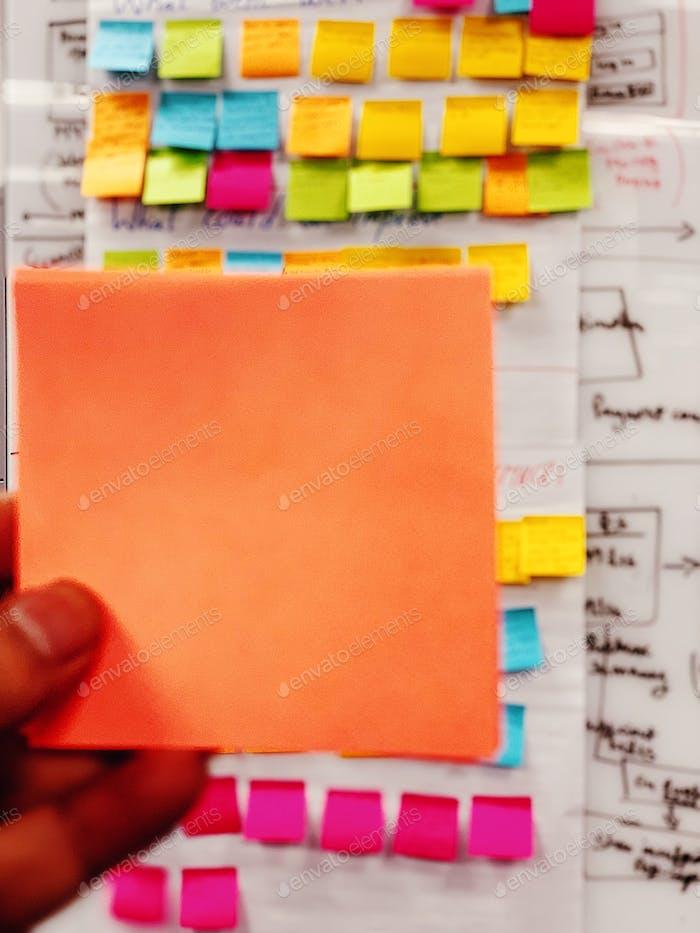 Office stick notes agile development software development team work