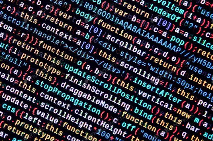 JavaScript code in text editor