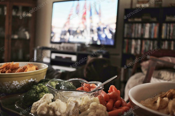 Football Super Bowl celebration with food