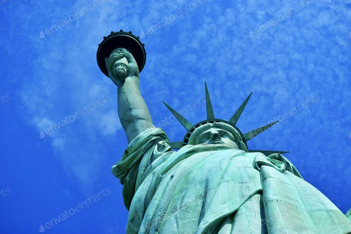 Lady liberty from below in New York on liberty island