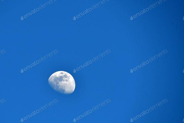 **Nominierte** Tagesmond - ein Teilmond in einem hellen blauen Himmel während des Tages