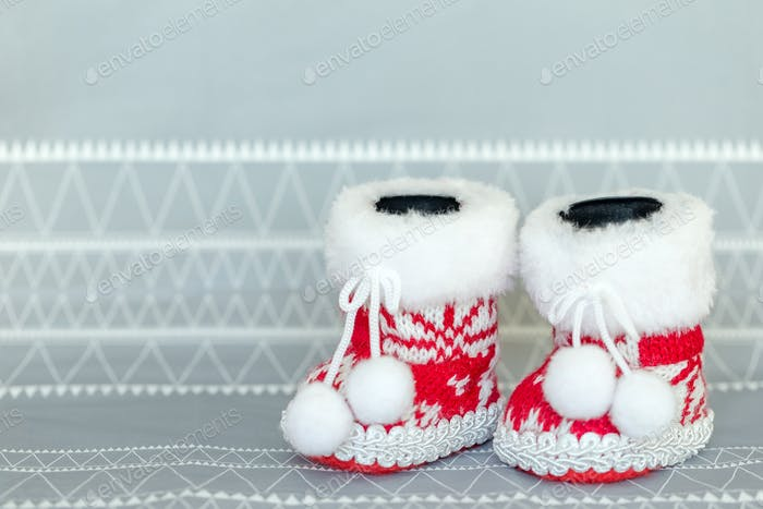 Cute little Christmas knitted red shoes