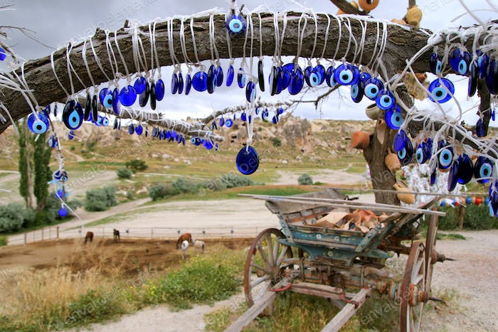 Travel to Goreme, Turkey. The turkish traditional souvenirs 'Cat's eyes' on the tree.