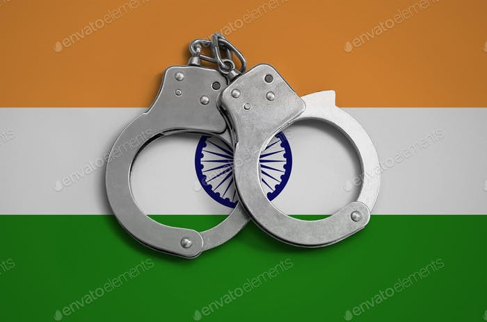 India flag  and police handcuffs